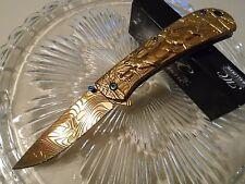 Master Collection Ballistic Assisted Open Gold Chrome Elk Pocket Knife MC-A033GD
