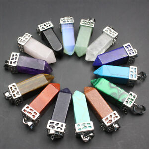 Natural-Gemstones-Square-Prism-Pointed-Reiki-Chakra-Silver-Pendant-for-Necklace