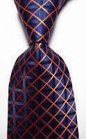 New Classic Checks Dark Blue Orange JACQUARD WOVEN 100% Silk Men's Tie Necktie