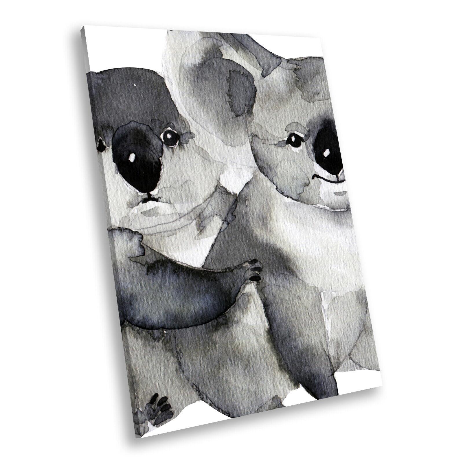 grau Koala Watercolour  Portrait Animal Canvas Wall Art Large Picture Prints