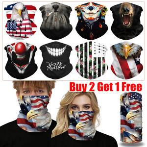 UV Protection Face gaiter Tube Mask Scarf Bandana Mouth Cover eagle Clowns