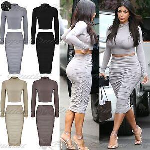 Womens Long Sleeve Ladies Bodycon Crop Top Pencil Midi Skirt Co ...