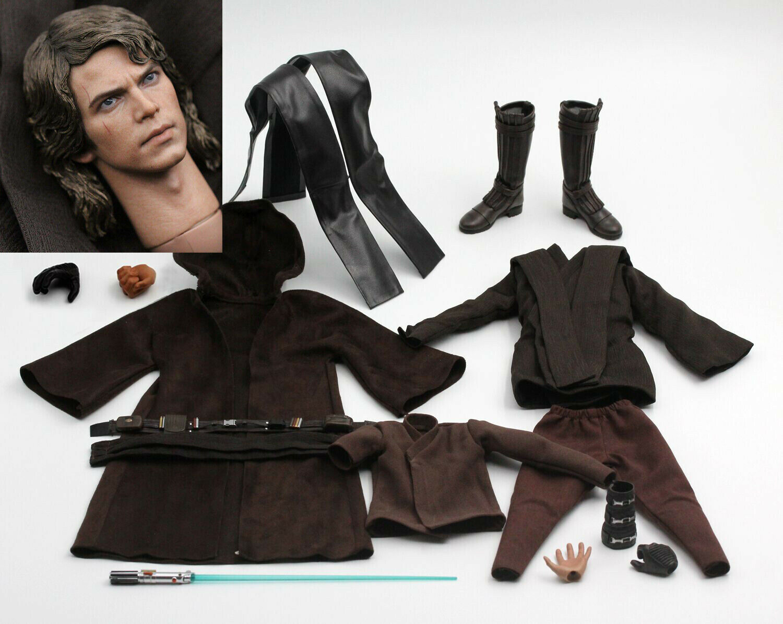 1 6 Estrella Wars Anakin Skywalker Personalizado cabeza esculpida & Ropa Set Figura De Acción Hazlo tú mismo