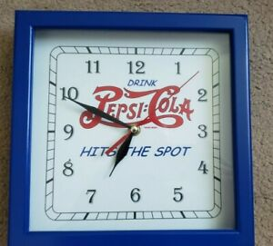 Drink-Pepsi-Cola-Hits-The-Spot-Quartz-Battery-Wood-Frame-Clock