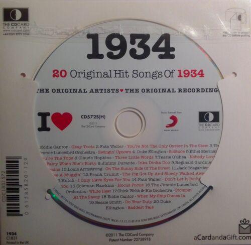 année Carte de vœux 1934 cadeau d/'anniversaire-I Love 1934 Compilation CD