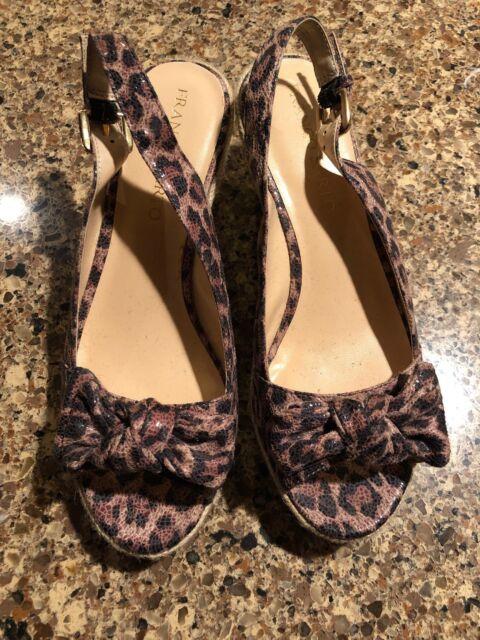d42b11c1b3a1 Franco Sarto Brown Leopard Print Women's Sandals Shoes Wedge Heel Size 7  1/2 EUC