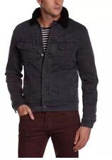 LEE Rider Sherpa Denim Jacket Grey Black FUR Lined Winter Slim 101 Size Large