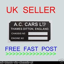 AC CARS DITTON SHELBY COBRA TAG REPLACEMENT REPLICA ALL-BLANK-VIN-CHASSIS-PLATES