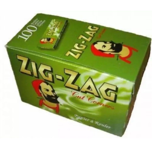 Full Box of 100 Booklets Zig Zag Tobacco Rolling Papers Green Cut Corner  £10.90