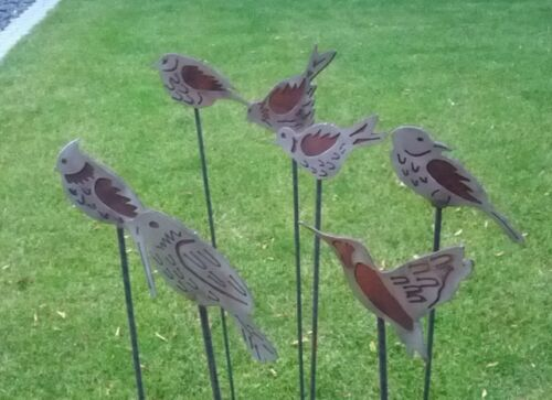 2st.Gartenstecker Beetstecker Edelstahl /& Edelrost Vogel Metall Gartendeko Deko