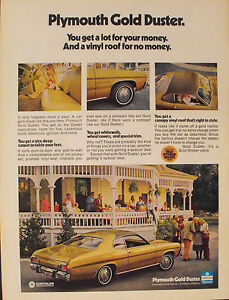 1973 plymouth gold duster canopy vinyl roof chrysler car collectible promo ad ebay. Black Bedroom Furniture Sets. Home Design Ideas
