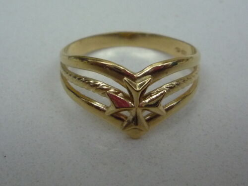 new 18ct yellow gold wishbone with malta maltese cross ring all sizes