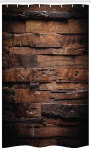 Schokolade-Schmaler-Duschvorhang-Raue-Dunkle-Holz