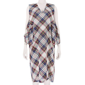 Dries-Van-Noten-Pale-Grey-Navy-Red-Tartan-Layered-Split-Back-Dress-FR38-UK10