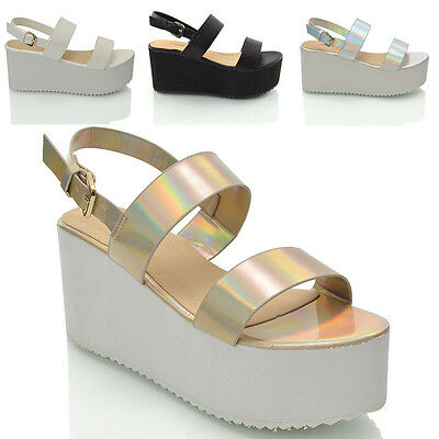 Womens Platform Wedge Heel Ladies Flatform Chunky Strappy Sandal Shoes Size 3-8