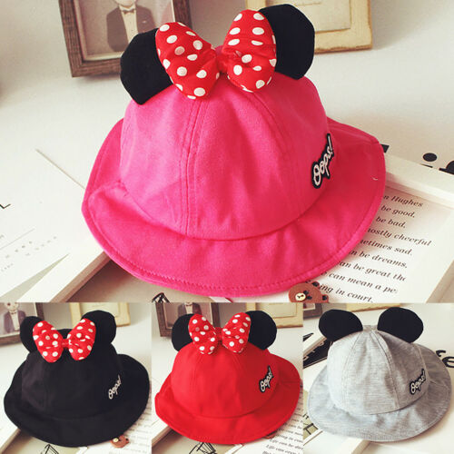 Kids Girl Boy Bowknot Mickey Minnie Bucket Hat Toddler Cotton Casual Sun Caps