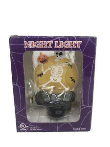 Costco-Halloween-Skeleton-Night-Light-Full-Moon-Plastic-Plug-In-Light-Tested-EUC