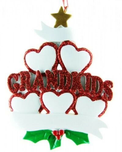 Personalised In House Christmas 5 Grandkids Xmas Tree Ornament Bauble