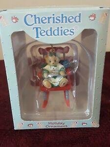 Enesco Ornament Cherished Teddies #499781 Bear on Red Rocking Chair 1997