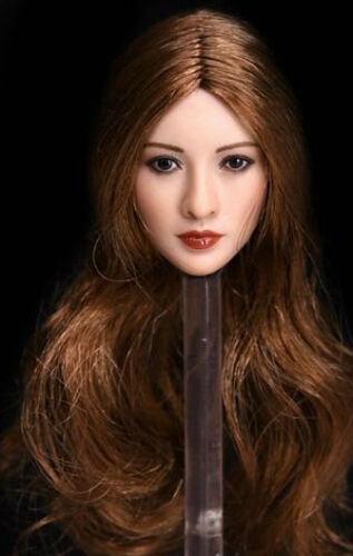 1//6 Asian Beauty Female Head Sculpt Brown Hair For Hot Toys Phicen Suntan U.S.A.