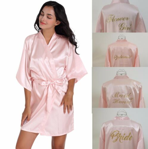 Satin Personalized Wedding Robe Bridesmaid Bride Mother Child Silk Dressing Gown