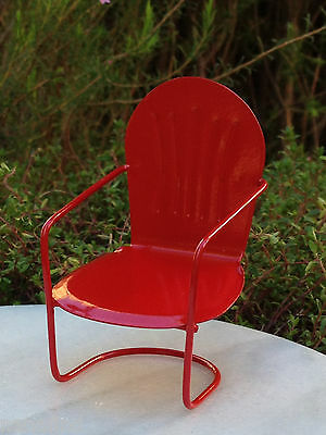 Miniature Dollhouse FAIRY GARDEN Furniture ~ Red Metal Glider Chair ~ NEW