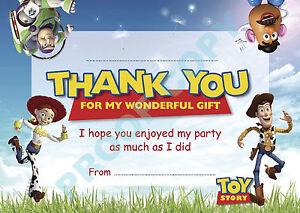 Détails Sur Toy Story Lot De 10 Buzz Woody Merci Cartes Enfants Anniversaire Afficher Le Titre Dorigine