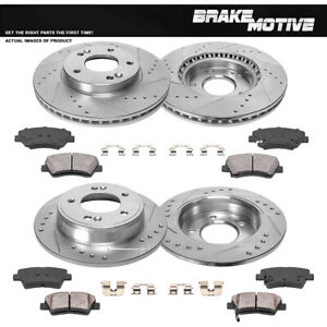Front /& Rear Drill Slot Brake Rotors And Ceramic Pads For 2004-2012 Endeavor
