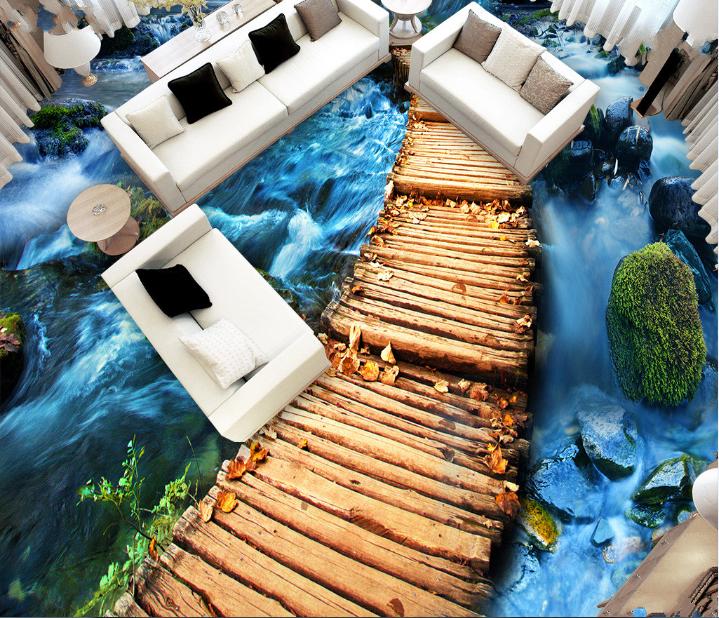 3D Blau Stream Bridge 89 Floor WallPaper Murals Wall Print Decal AJ WALLPAPER US