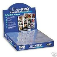 (100) Ultra Pro 9 Pocket Pages For Binder Baseball Cards Or Coupon Sleeves