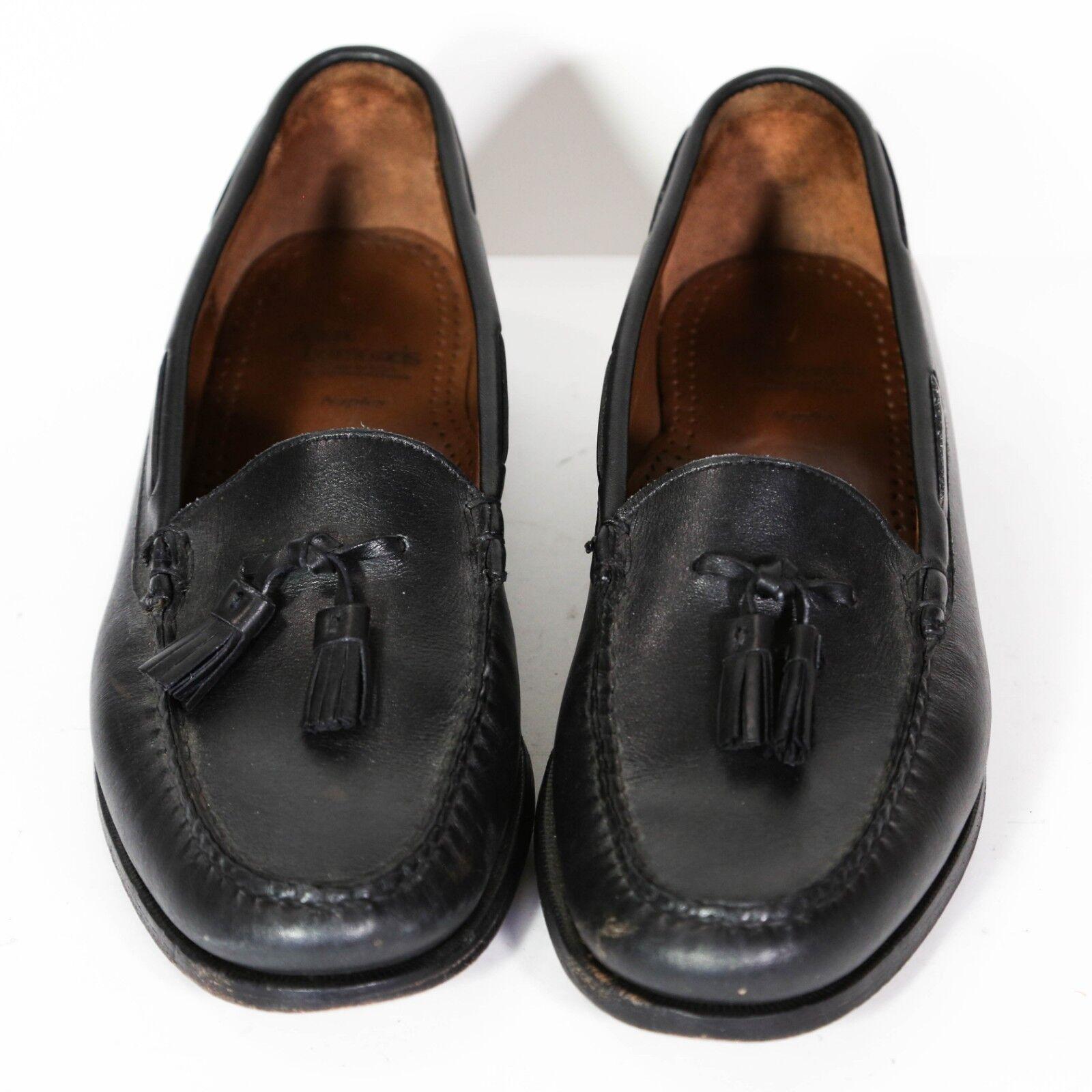 Allen Edmonds Naples Mens Loafers Size 11.5 B Black Leather Slip On Tassel EUC