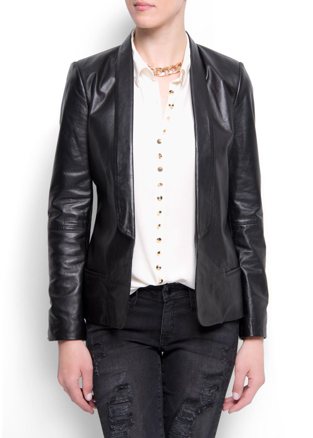 Mango Leather Smoking Blazer in US Size XXS and Eur Size XS