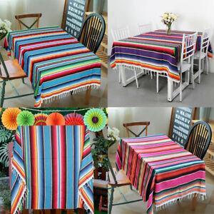 Mexican-Serape-Tablecloth-Cotton-Outdoor-Yoga-Blanket-Fiesta-Party-Home-Decor