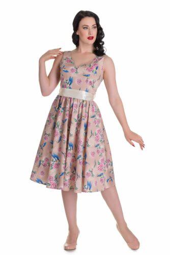 Retro Dress size 8 Floral Rose Tender Pink Brown Summer Wedding Christening