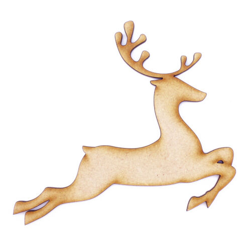 Leaping Reindeer 3mm MDF Laser Cut Christmas Topper Pyrography