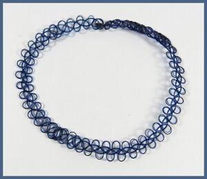 Kinder-Tattookette-blau-schwarz-Halskette-Choker-Tatoo-Maedchen-Retro-dehnbar