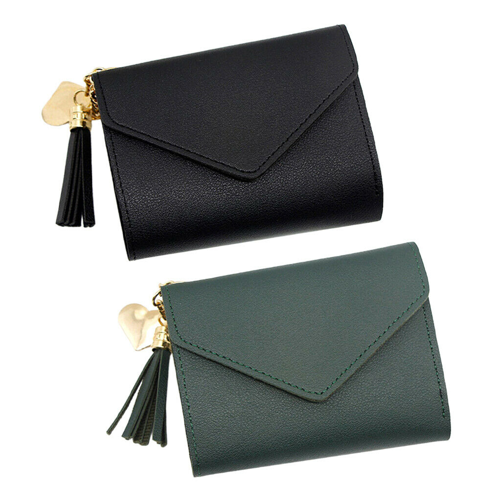 2 Pack Compact Leather Wallet Large Capacity Coin Cash Card Holder Clutch