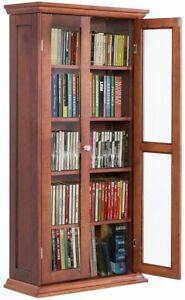 Magnificent Details About Wood Storage Cabinet Shelves Bookcase Media Cd Dvd Organizer Double Glass Doors Home Remodeling Inspirations Basidirectenergyitoicom