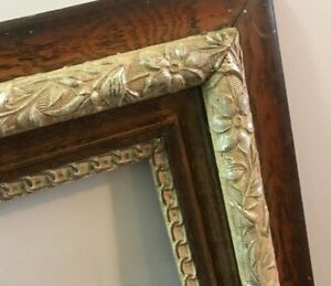 Antique-Ornate-Wood-Carved-Frame-Picture-Photo-Gesso-Painting-Gold-Baroque-17x14