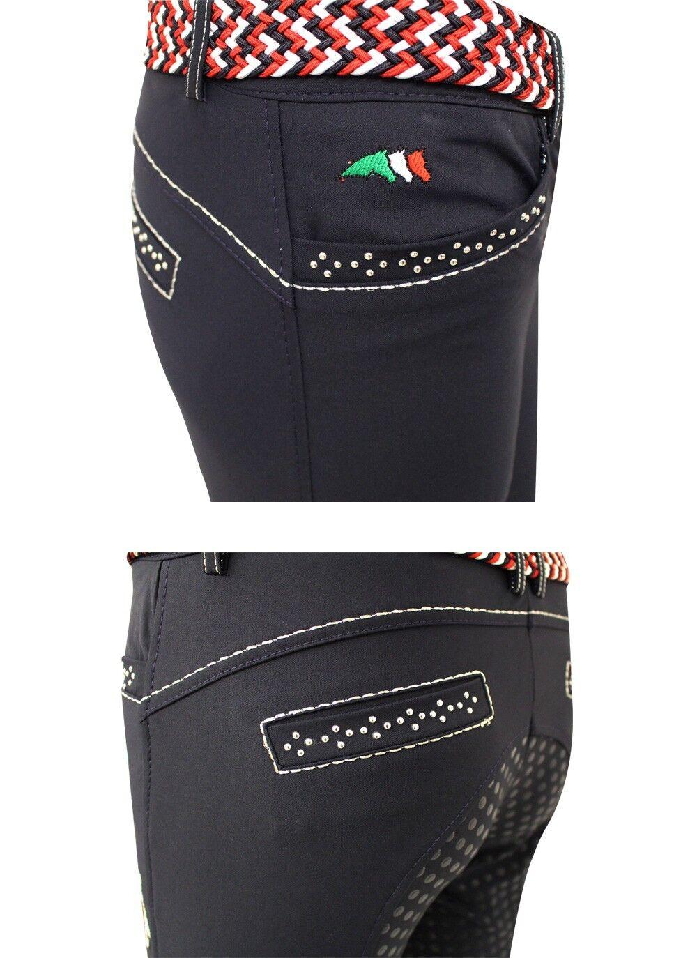 EQUILINE Electra Ragazze Pantaloni da equitazione, Bianco 1011
