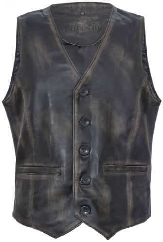 Mens Soft Black Leather Waistcoat Classic Casual Formal Traditional Gilet Vest