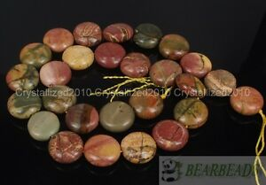 Natural-Picasso-Jasper-Gemstone-Round-Coin-14mm-Loose-Beads-15-034-Jewelry-Making