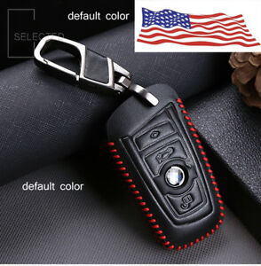 For BMW Car Key Case Protector Holder Cover Chain Fob 3 Buttons Brown Leather