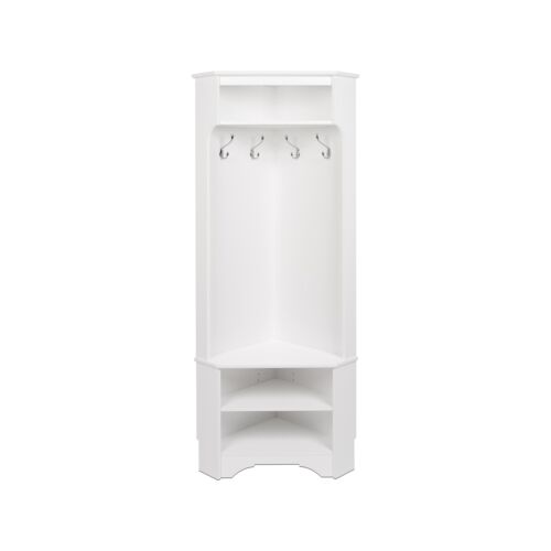 Prepac Corner Hall Tree Coat Rack Fixed Metal Hooks White Laminate Furniture New