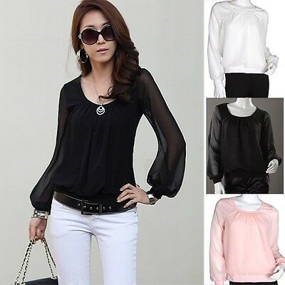 Women Clothing White Chiffon Lantern Sleeve Shirt Top T-shirt Summer Blouse NEW