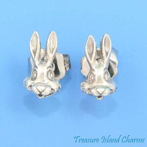 BUNNY-RABBIT-925-Sterling-Silver-Stud-Hypo-Allergenic-Post-Stud-Earrings-9mm
