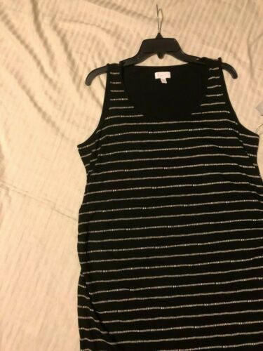 a:glow Maternity Pullover Tank Like Sheath//Dress Ruched Sides; Blk//Wht,XL XXL