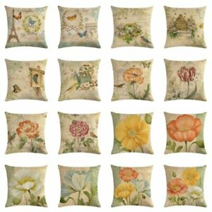 Vintage-Cotton-Linen-Flower-Butterfly-Sofa-Pillow-Case-Cushion-Cover-Home-Decor
