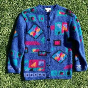 VTG-90s-LL-Bean-Mohair-WOOL-Geometric-Tribal-Print-Toggle-Button-Sweater-Top-S-M
