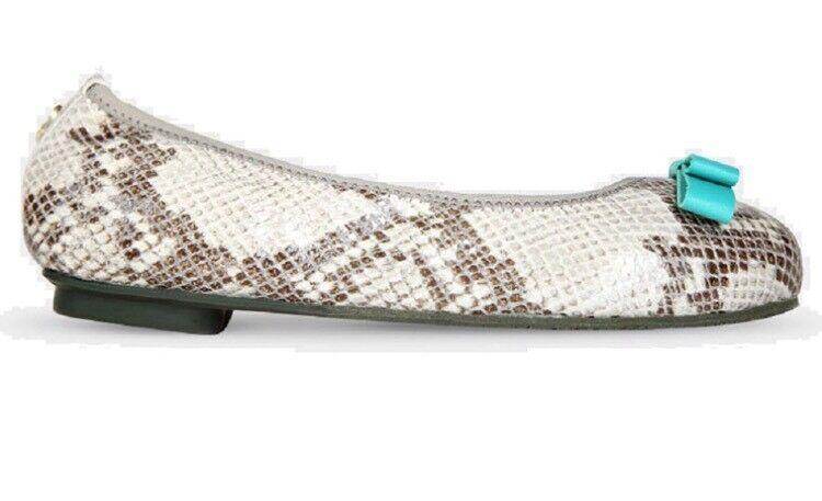 Morena Morena Foldable Flat Designer shoes Size 5.New In Box White Snake Skin